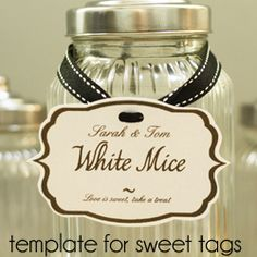 label tags | Candy Jar Labels Download | Sweetie Buffet Tags FREE Template