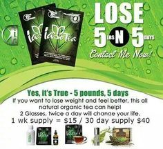 100% Organice All Natural IasoTea ..... detox yourself naturally and lose weight... Sip tea and lose 5 lbs in 5 days...How awesome is that....  www.atlskinntea.com IBO 3306151
