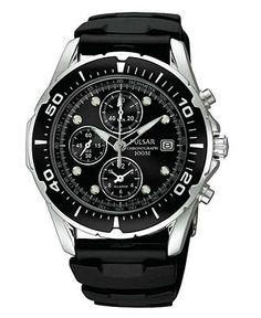 Pulsar Watch, Men's Black Polyurethane Strap PF3293 - Men's Watches - Jewelry & Watches - Macy's