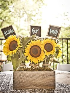 Reserved For Family Sign with Sunflowers real atlanta wedding outdoor park #weddingsatheritagegreen Sandy Springs www.heritagesandysprings.org