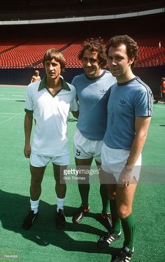1979, Johan Cruyff, left, who played a number of exhibition games for New York Cosmos, pictured with Cosmos stars Giorgio Chinaglia and Franz Beckenbauer, Johan Cruyff, one of the greatest players of all time won 48 international caps for Holland