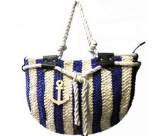 Blue Striped Straw Bag with Anchor Pendant - The Handbag Hut