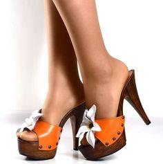 Zoccoli Alti Scarpe Donna con Fiore in Pelle Arancio - KikkiLine Calzature