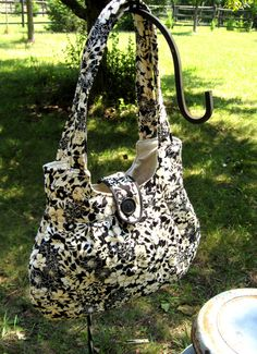 Handmade quilted  purse / tote in black and white by quiltcountry, $36.00