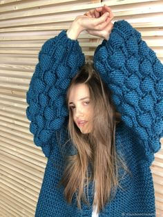 Knitted Turquoise cardigan – shop online on Livemaster with shipping