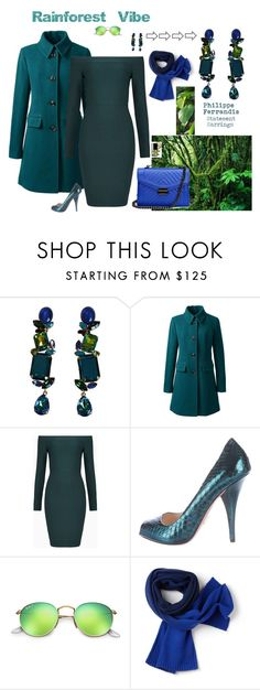 """""""Rainforest Vibe"""" by sophie-poualion ❤ liked on Polyvore featuring Rainforest, Philippe Ferrandis, Lands' End, BCBGMAXAZRIA, Prada, Ray-Ban and Lacoste"""