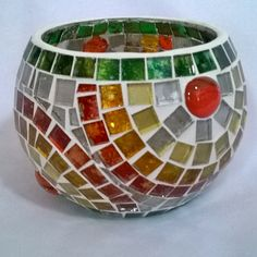 Lámpara para vela Ser Hecho a Mano Mosaico en vidrio