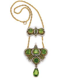 A gold, diamond, and peridot necklace, c.1900. Created by Marcus & Company, New York City, (active: 1892-1941). ~ {cwlyons} ~ (Image: incollect)