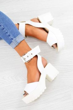 White Chunky Platform Sandals - PU - 2 Source by maddiemariedeer shoesWomen's White Chunky Platform Sandals - PU - 2 Source by maddiemariedeer shoes Chunky Cleated Platform Buckle Sandals - White – AJ White Chunky Sandals, Chunky Shoes, White Shoes, White Wedges, Silver Sandals, Strappy Sandals, Fashion Models, Fashion Shoes, Emo Fashion