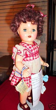 "Vintage Composition Shirley Temple Girl Doll 15"" Tall  #Dolls"