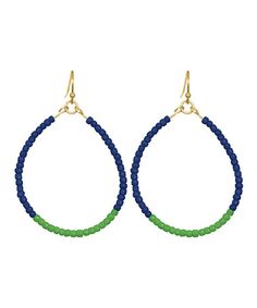 Take a look at this Navy Blue & Kelly Green Caroline Teardrop Earrings by Towne & Reese on #zulily today!