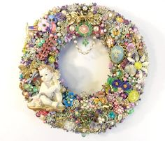 Spring Wreath Covered in Vintage Jewelry by SweetLenasRetro, $285.00