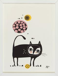 """Black Cat"" 29,7 x 40cm. Mariann Doherty. Shop: going Danish. Print Illustration"