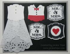 Artisan Punch Wedding - Jackie Topa , Stamp Set: Label Love Punches: Artisan Label and Small Heart Products: Tea Lace Doilies, Basic Pearls, Black Sharpie, Black Ink