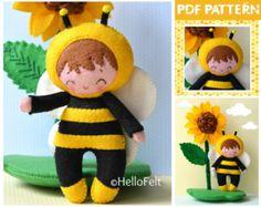 PDF Pattern Felt Puppy Felt food Felt Pattern Doll por HelloFelt