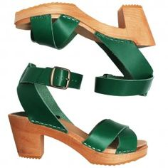 921 ankle strap green vege - clogs & sandals, funkis