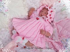 Baby and Doll Hand Knit Designs for Sale Baby Set, Baby Doll Clothes, Sewing Clothes, Knitting Designs, Knitting Patterns, Crochet Patterns, Preemie Babies, Preemies, Baby Dress