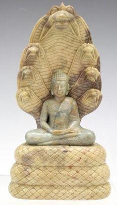 Soapstone Buddha with Naga Mandorla Lot 243