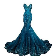 Amazon.com: Pettus Women's Sweetheart Long Prom Dress Mermaid Appliue Evening Gown Formal Dress: Clothing
