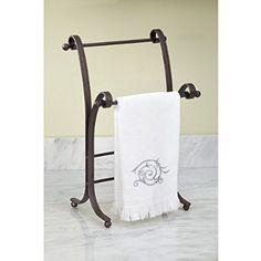 $16.32 InterDesign York Lyra Fingertip Bath Hand Towel Holder Stand, Bronze