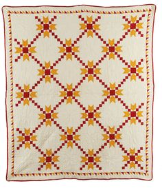 Doves in the Window with Single Irish Chain and sawtooth border in red and cheddar solid fabrics, c. 1860,  Shelly Zegart collection