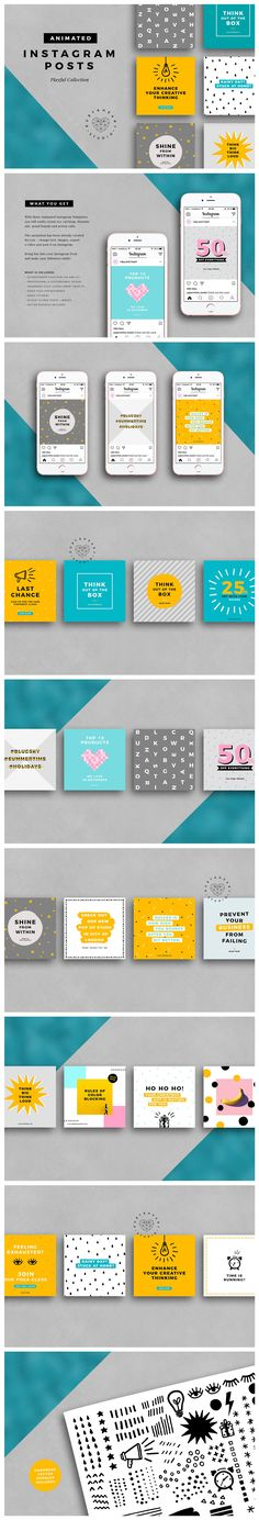 ANIMATED Playful Instagram Posts by Ruby&Heart Studio on @creativemarket