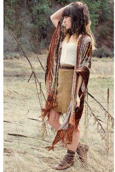 Autumn-toned bohemian outfit