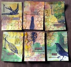lerusho - ATC / ACEO inspiration - collages / art bird theme