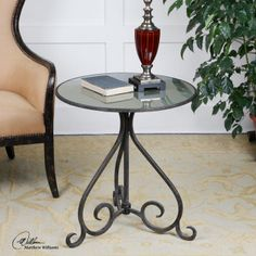 uttermost metal and glass end table aged bronze 24 W X 26 H X 24 D (in)