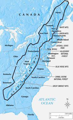 Appalachian Mountains map- The Rag Coat or Down Down the Mountain