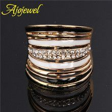 Ajojewel Size 8-9 Luxurious Anel De Ouro Enamel Black And White Crystal Ring For Women