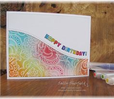 """15 Likes, 2 Comments - Sally Sherfield (@sallys_cards) on Instagram: """"CAS Birthday card using @simonsaysstamp """"wavy scallop die"""" and birthday sentiment. Base panel stamp…"""""""