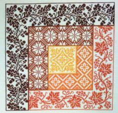 Cross Stitch pattern in log cabin quilt block with autumn themes and colors