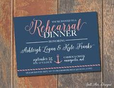 Image result for navy and coral rehearsal dinner invites
