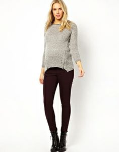Image 4 ofASOS Maternity Ridley Skinny Jean in Oxblood