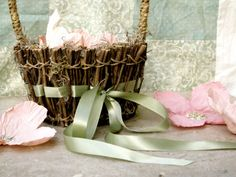 Moss & Twigs Flower Girl Basket with Sage green by marrymerosie, $28.00