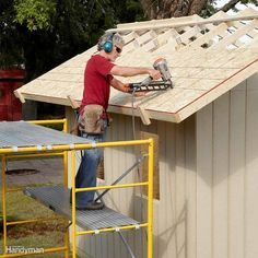 Shed Plans - Rent Scaffolding for Shed Roof Construction - DIY Storage Shed Building Tips: www. Now You Can Build ANY Shed In A Weekend Even If You've Zero Woodworking Experience! Diy Storage Shed Plans, Building A Storage Shed, Wood Shed Plans, Building Plans, Building Design, Storage Sheds, Building Ideas, Tiny Homes, Dream Homes