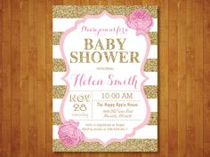 Pink and Gold Baby Shower Invitation. Pink Black Gold Glitter. Floral. Baby Girl Shower Invitation. Black Stripes. Printable Digital. by happyappleprinting on Etsy https://www.etsy.com/listing/259988347/pink-and-gold-baby-shower-invitation