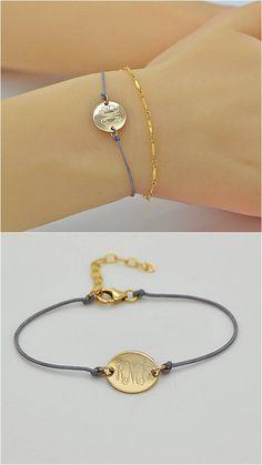 String Bracelet, Delicate Cord Bracelet, Personalized Monogram Disc, Initial Bracelet, Name Disc Bracelet, Gold, Silver, Rose Gold