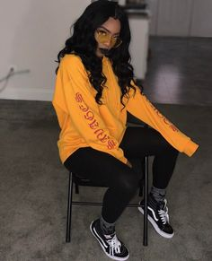 Find images and videos about style, hair and outfit on We Heart It - the app to get lost in what you love. Fashion Killa, Look Fashion, Teen Fashion, Fashion Outfits, Chill Outfits, Dope Outfits, Trendy Outfits, Baddie Outfits Casual, Yellow Outfits