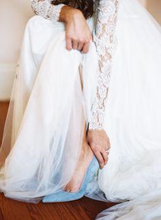 Classic blue wedding shoes.
