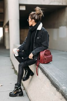 Obsessed with these chunky black patent boots!
