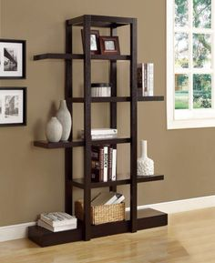 With a unique modern look, the Monarch Specialties Open Concept Display Étagère Bookcase makes a bold statement in any room. The zigzag design provides ample room to display books, photos, keepsakes and more yet still remains open and uncluttered. Display Shelves, Wall Shelves, Shelving, Glass Shelves, Open Shelves, 5 Shelf Bookcase, Etagere Bookcase, Open Bookcase, Bookcases