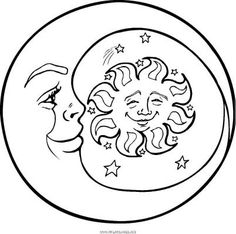 sun moon coloring page