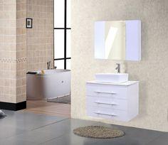 "Design Element Elton 30"" White Finish Bathroom Vanity"