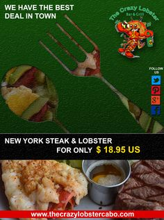 With two convenient locations downtown Cabo San Lucas since 1998. Serving the best Lobster Combos at even prices.