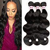 Fabeauty Hair Peruvian Bundles 100% Unprocessed Body Wave Human Hair Extensions Can be Dyed And Bleached Virgin Peruvian Body Wave Hair 3 Bundles Weave Natural Black Color
