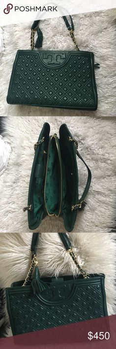 Tory Burch Fleming open shoulder bag Forrest green Tory Burch Fleming open shoulder bag, brand new never used, tags attached! Offers welcome!! Tory Burch Bags Shoulder Bags
