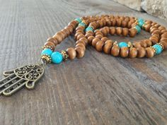 108 Magnesite and Beaded Wood Hamsa Mala Necklace for Self Love. Prayer Beads. Meditation necklace. Mala Beads . Yoga Jewelry.