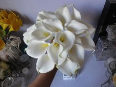 10pcs White Calla Lily Real Touch Latex Bridal Bouquet Flowers Calla Lilies Wedding Decor Table Centerpiece